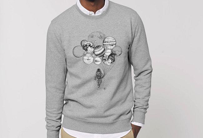 Basic Sweatshirt - Astronaut mit Planeten