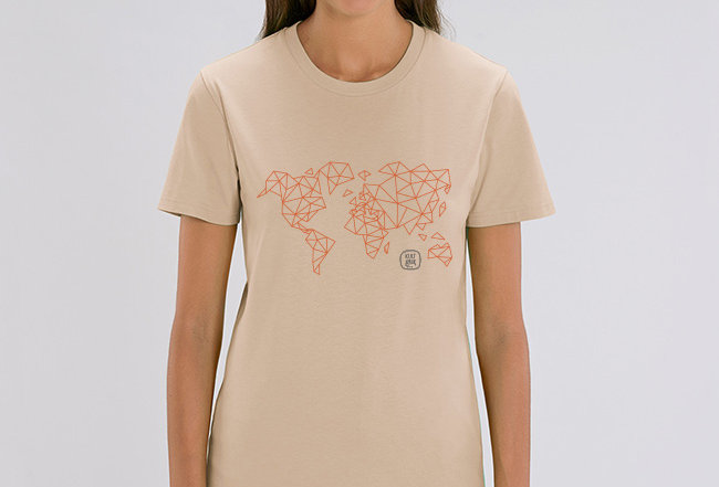 Boyfriend T-Shirt- Worldmap Orange