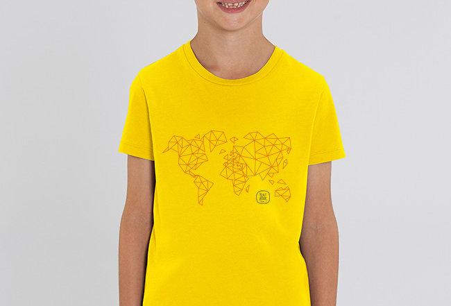 Jungs T-Shirt- Worldmap Orange