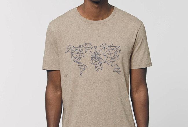 Basic T-Shirt - blue Worldmap