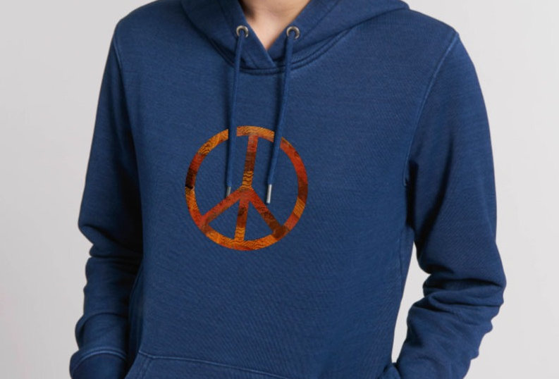 Denim Hoodie - Orange touch in Peace