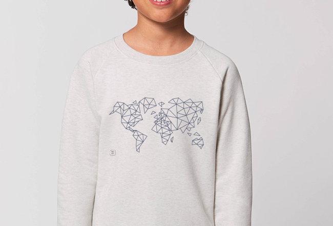 Jungs Sweatshirt - Blue Worldmap