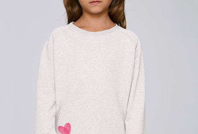 Mädchen Sweatshirt - Daumenabdruck Herz