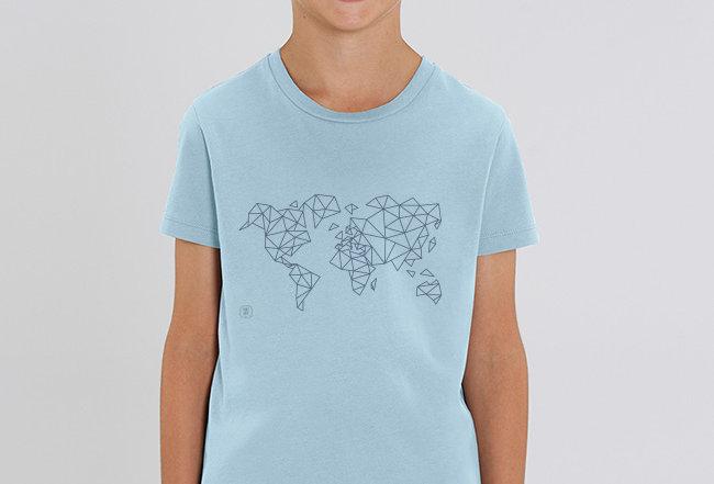 Jungen T-Shirt - blue Worldmap