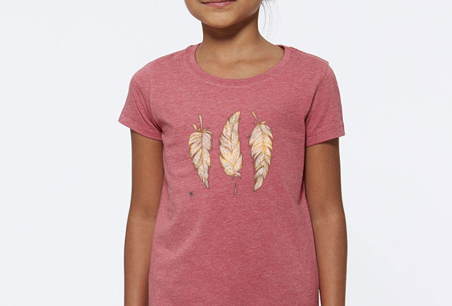 Mädchen T-Shirt - Glücksfedern