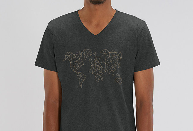 V-Neck- Worldmap