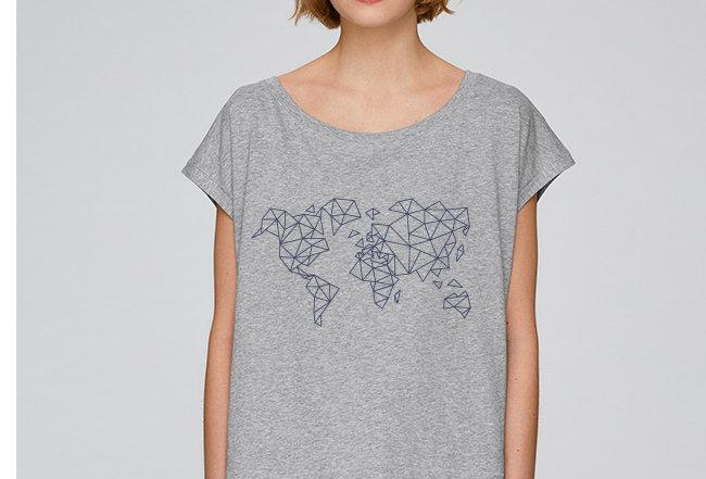 Oversize T-Shirt  - blue Worldmap