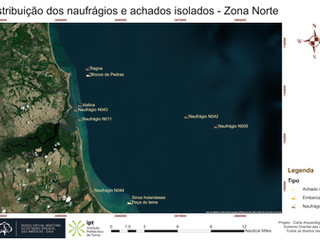Distribuição dos naufrágios e achados isolados - Zona Norte (RGB)