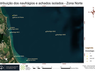 Distribuição dos naufrágios e achados isolados - Zona Norte (cronologia)