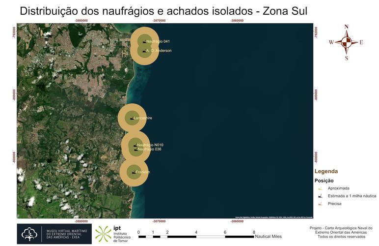 Distribuição dos naufrágios e achados isolados - Zona Sul (posicionamento)
