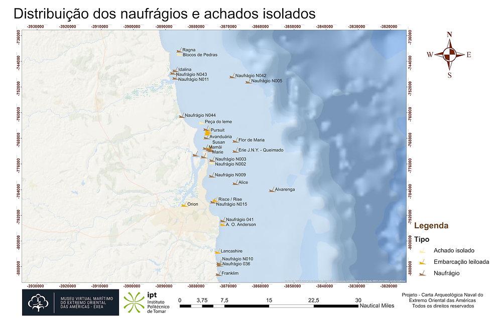 Distribuição dos naufrágios e achados isolados - Geral Oceano