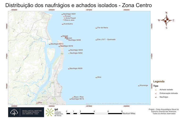 Distribuição dos naufrágios e achados isolados - Zona Centro (topografia)