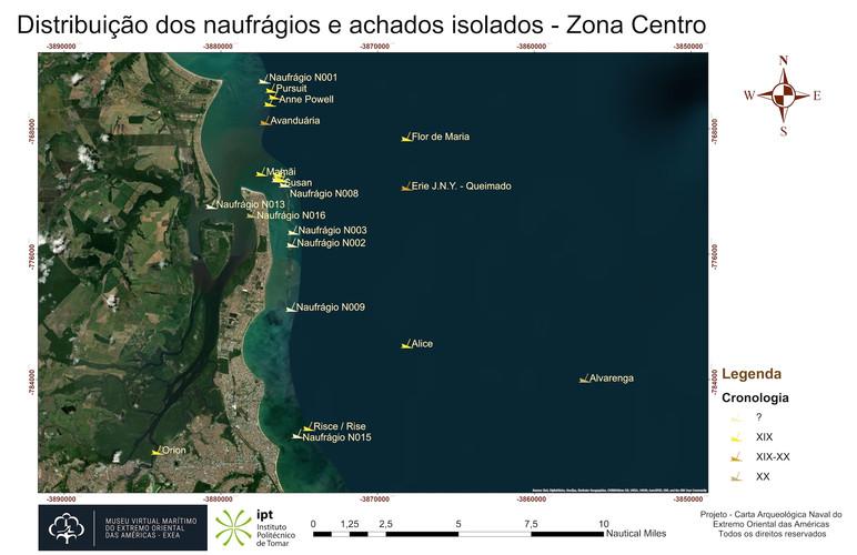 Distribuição dos naufrágios e achados isolados - Zona Centro (cronologia)