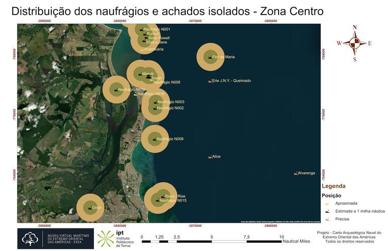 Distribuição dos naufrágios e achados isolados - Zona Centro (posicionamento)