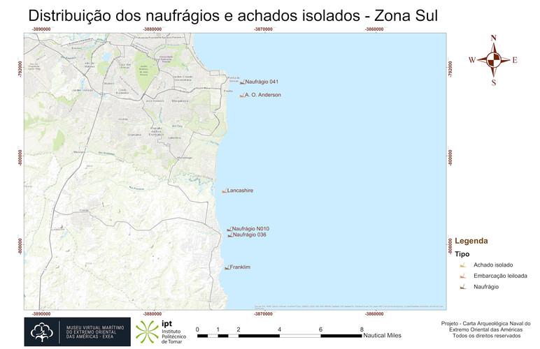 Distribuição dos naufrágios e achados isolados - Zona Sul (topografia)