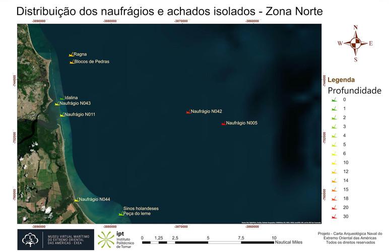 Distribuição dos naufrágios e achados isolados - Zona Norte (profundidade)