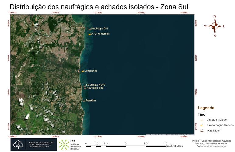 Distribuição dos naufrágios e achados isolados - Zona Sul (RGB)