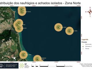 Distribuição dos naufrágios e achados isolados - Zona Norte (posicionamento)