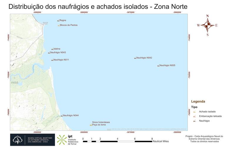 Distribuição dos naufrágios e achados isolados - Zona Norte (topografia)