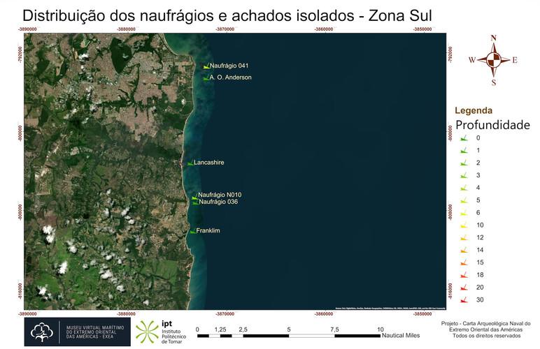 Distribuição dos naufrágios e achados isolados - Zona Sul (Profundidade)