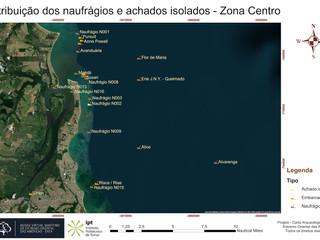 Distribuição dos naufrágios e achados isolados - Zona Centro (RGB)