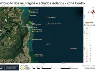 Distribuição dos naufrágios e achados isolados - Zona Centro (profundidade)