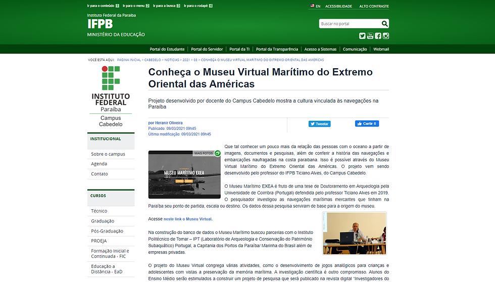 O Museu Marítimo EXEA foi notícia na página do Campus Cabedelo do Instituto Federal da Paraíba - IFP