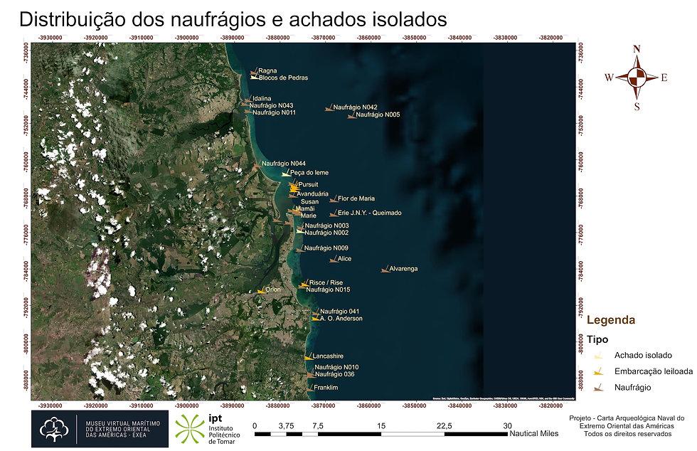 Distribuição dos naufrágios e achados isolados - Geral World Image