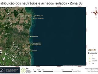 Distribuição dos naufrágios e achados isolados - Zona Sul (Cronologia)