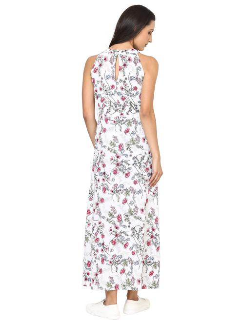 White flower print maxi dress mightylinksfo