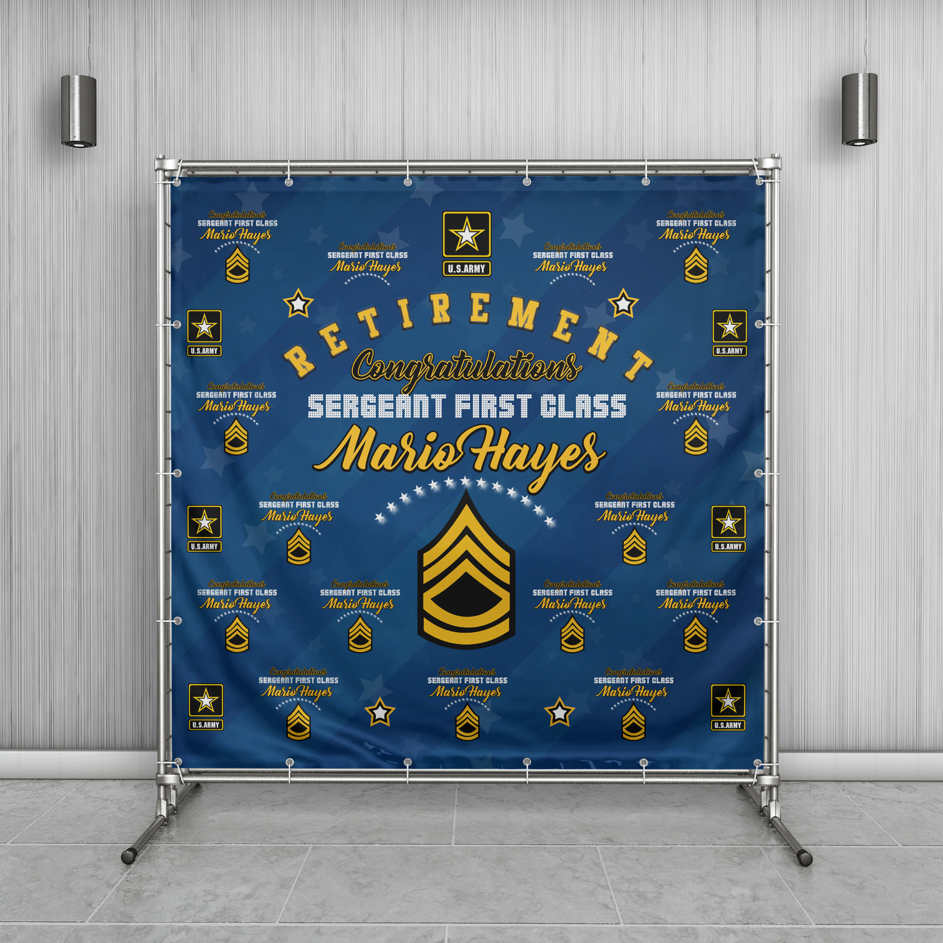 Army Retirement Step Repeat Banner