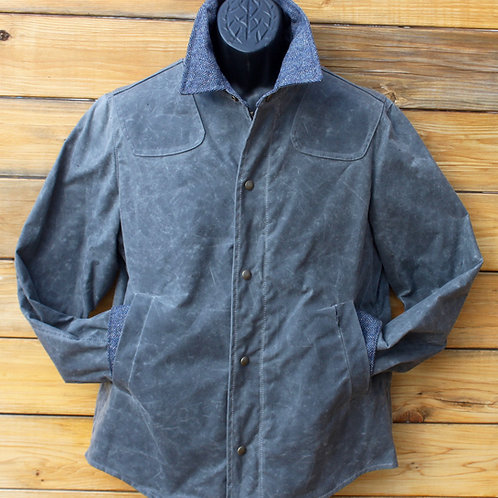 Scout Jacket - Grey Wax with Tweed Wool Collar & Cuffs