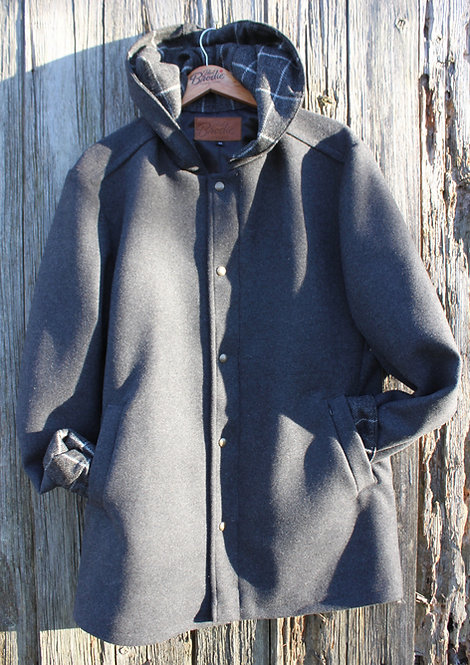 Wool Hooded Rover - Grey Wool with Grey and White Large Check