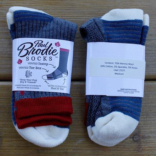Brodie Merino Wool Socks -  Grey Blue - Quarter Length - M
