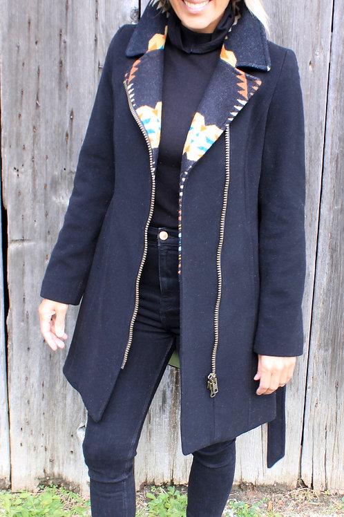 Montreal Jacket - Black Wool with Black Arroya Pendleton Wool Detail