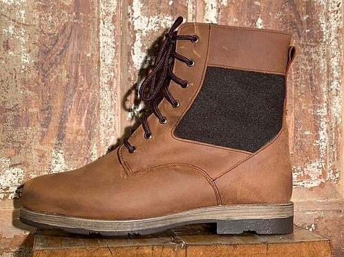 The Banff - Old West Brown Leather with Olive Wool Panel