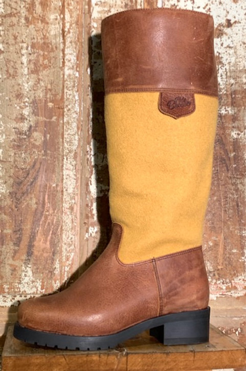 Tall Side Zip - Old West Brown w Gold Wool