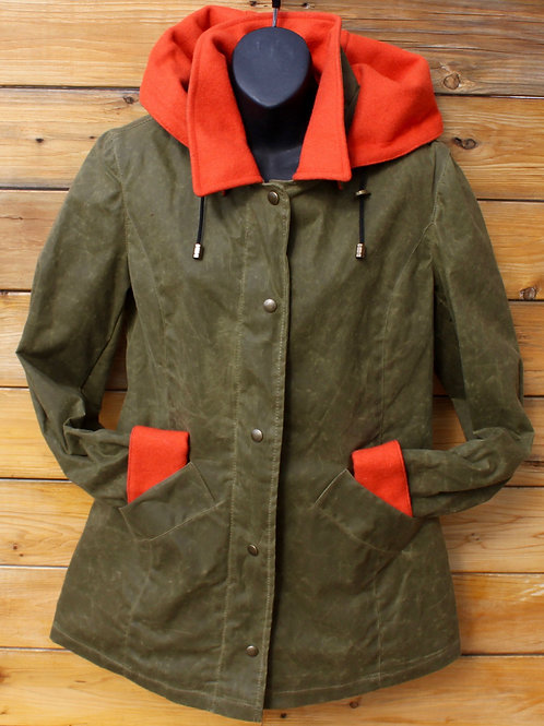 Paddock Jacket - Military Green Wax with Bright Orange Wool