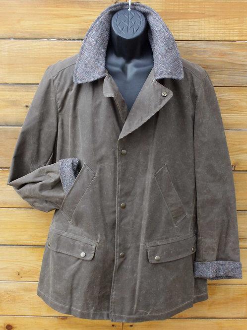 Brodie Jacket - Dark Tan Wax with Tweed