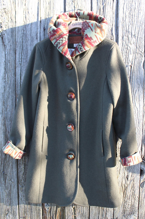 Wool Hooded Duffle Coat - Olive Wool with Native Wool Design