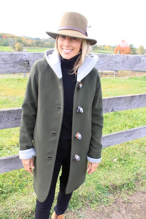 Wool Hooded Duffle Coat - Olive Wool