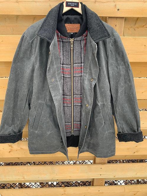 Wax Journeyman - Steel Grey with Charcoal Plaid Wool Storm Flap