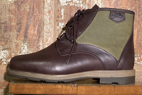 The Woodsman - Espresso Leather with Tan Wax Cotton Panel