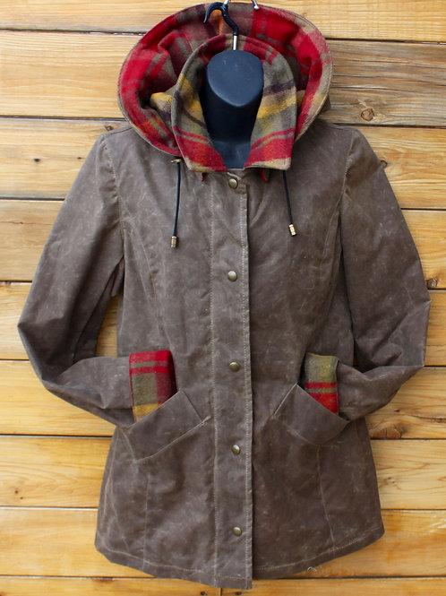 Paddock Jacket - Dark Tan Wax Cotton with Maple Leaf Tartan Wool