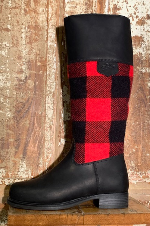 Tall Side Zip - Black Leather with Black & Red Check Wool