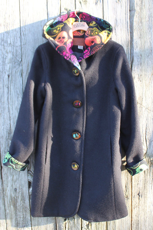 Black Duffle Wool with Sugar Skulls Wool Pattern