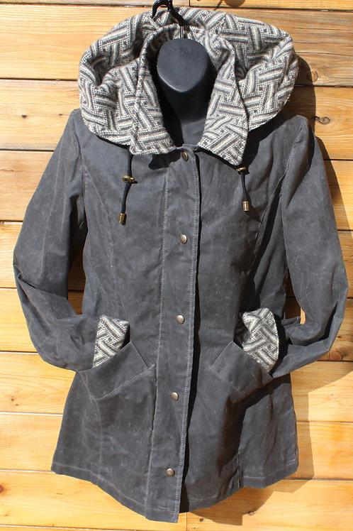 Paddock Jacket - Grey Wax with Grey Tweed Wool
