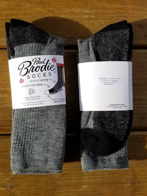 Brodie Merino Wool Socks - Grey/Black - Crew Length - One Size