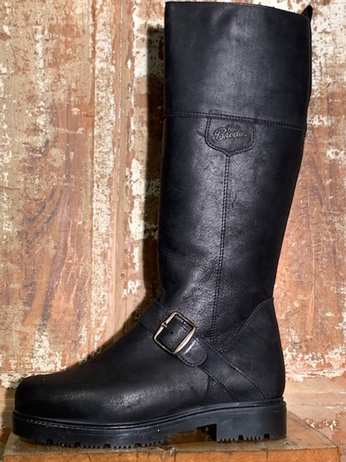 Tall Side Zip w Buckle - Old West Black Leather