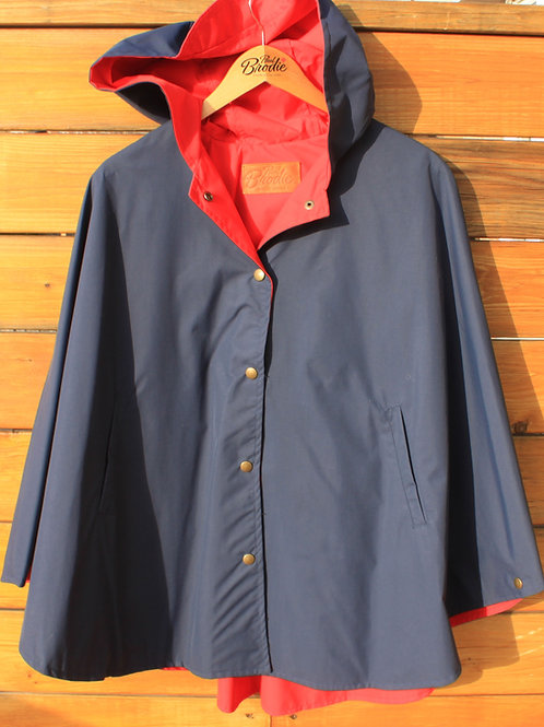Nylon Snap Up Cape/Poncho - Navy with Red